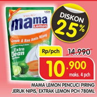 Promo Harga MAMA LEMON Cairan Pencuci Piring Jeruk Nipis, Ekstrak 780 ml - Superindo