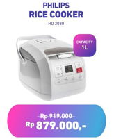 Promo Harga PHILIPS Rice Cooker HD 3030  - Electronic City