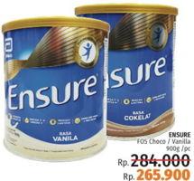 Promo Harga ENSURE Nutrition Powder FOS Coklat, Vanila 900 gr - LotteMart