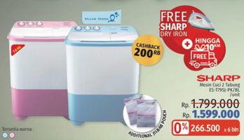 Promo Harga SHARP ES-T79SJ-BL/PK | Washing Machine Twin Tube 7.5kg  - LotteMart