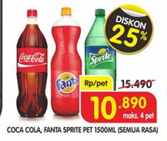 Promo Harga Coca Cola/Fanta/Sprite All Variants 1500 ml - Superindo