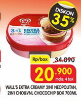 Promo Harga WALLS Ice Cream Neopolitana, Chocolate Vanilla With Chocolate Chip 700 ml - Superindo