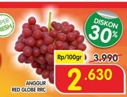 Promo Harga Anggur Red Globe RRC per 100 gr - Superindo