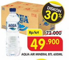 Promo Harga AQUA Air Mineral 600 ml - Superindo