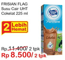 Promo Harga FRISIAN FLAG Susu UHT Purefarm Swiss Chocolate per 2 box 225 ml - Indomaret