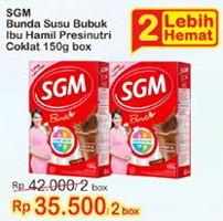 Promo Harga SGM Bunda Susu Ibu Hamil & Menyusui Cokelat per 2 box 150 gr - Indomaret