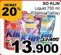 Promo Harga SO KLIN Liquid Detergent All Variants 750 ml - Giant