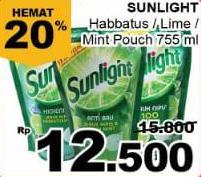 Promo Harga SUNLIGHT Pencuci Piring Higienis Plus Jeruk Nipis Habbatussauda, Anti Bau Jeruk Nipis Daun Mint, Lime 755 ml - Giant