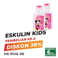Promo Harga ESKULIN Kids Hand Sanitizer Pink 50 ml - Yogya