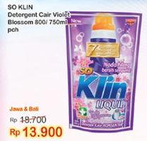 Promo Harga SO KLIN So Klin Liquid Detergent Violet Blossom 800ml/750ml  - Indomaret