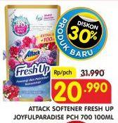 Promo Harga ATTACK Fresh Up Softener Joyfull Paradise 700 ml - Superindo