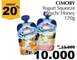 Promo Harga CIMORY Squeeze Yogurt Peach, Honey 120 gr - Giant