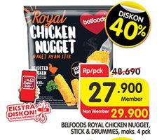 Promo Harga BELFOODS ROYAL BELFOODS Chicken Nugget/Stick/Drummies 500gr  - Superindo