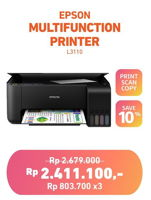 Promo Harga EPSON Multifunction L3110 Printer  - Electronic City