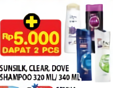Promo Harga SUNSILK SUNSILK/CLEAR/DOVE Shampoo 320ml/340ml  - Hypermart
