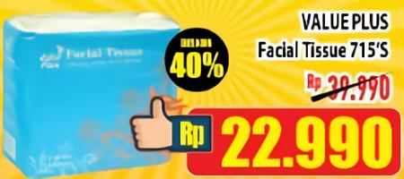 Promo Harga VALUE PLUS Facial Tissue 715 pcs - Hypermart