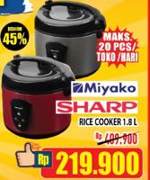 Promo Harga MIYAKO MIYAKO/SHARP Rice Cooker 1800ml  - Hypermart