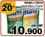Promo Harga MAMA LEMON Cairan Pencuci Piring Jeruk Nipis, Fresh Lemon 780 ml - Giant