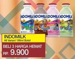Promo Harga INDOMILK Susu Cair Botol All Variants per 3 botol 190 ml - Yogya
