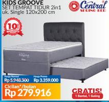 CENTRAL SPRING BED Kids Groove 2 in 1 Bed Set 120x200cm  Diskon 44%, Harga Promo Rp3.359.000, Harga Normal Rp5.948.300, Cicilan Rp279.916/bln. Gratis 1 bantal+1 guling. S&K berlaku.