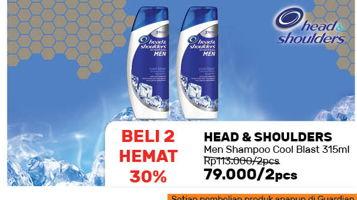 Promo Harga HEAD & SHOULDERS Men Shampoo Cool Blast per 2 botol 315 ml - Guardian