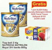 Promo Harga NUTRILON Royal 3 Susu Pertumbuhan Vanila per 2 kaleng 800 gr - Indomaret