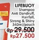 Promo Harga LIFEBUOY Shampoo Anti Dandruff, Anti Hair Fall, Strong Shiny 340 ml - LotteMart