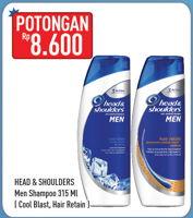 Promo Harga HEAD & SHOULDERS Men Shampoo Cool Blast, Hair Retain 315 ml - Hypermart