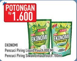 Promo Harga EKONOMI EKONOMI Pencuci Piring Power Liquid 780ml/800ml  - Hypermart