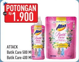 Promo Harga ATTACK ATTACK Batik Care Liquid 500ml/400ml  - Hypermart
