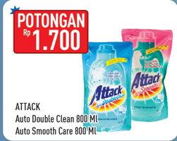 Promo Harga ATTACK ATTACK Auto Double Clean/Auto Smooth 800ml  - Hypermart