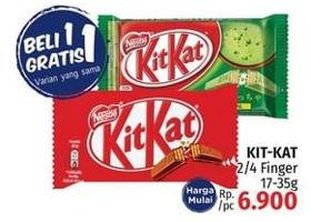 Promo Harga KIT KAT KIT KAT Chocolate 4 Fingers/Chocolate 2 Fingers 17gr - 35gr  - LotteMart