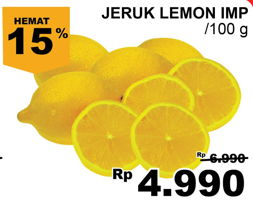 Promo Harga Jeruk Lemon Import per 100 gr - Giant
