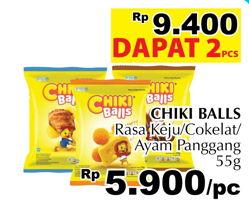 Promo Harga CHIKI BALLS Chicken Snack Keju, Coklat, Ayam per 2 pouch 55 gr - Giant