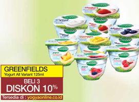 Promo Harga GREENFIELDS Yogurt All Variants per 3 pcs 125 ml - Yogya
