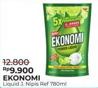 Promo Harga EKONOMI Pencuci Piring Power Liquid Jeruk Nipis 780 ml - Alfamart