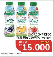 Promo Harga GREENFIELDS Yogurt Drink All Variants per 2 botol 250 ml - Alfamidi