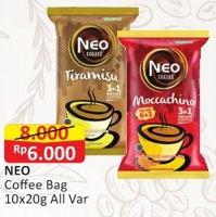Promo Harga NEO COFFEE 3 in 1 Instant Coffee All Variants per 10 sachet 20 gr - Alfamart