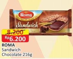 Promo Harga ROMA Sandwich Coklat 216 gr - Alfamart