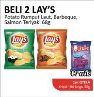 Promo Harga LAYS Snack Potato Chips Rumput Laut, Barbeque, Salmon Teriyaki per 2 pcs 68 gr - Alfamidi