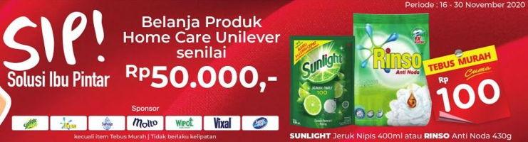 Promo Harga SUNLIGHT SUNLIGHT Jeruk Nipis 400ml / RINSO Anti Noda 430gr  - Alfamart