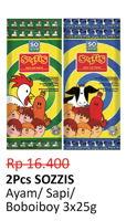 Promo Harga SO GOOD Sozzis Ayam, Sapi, Boboi Boy per 3 pouch 25 gr - Alfamidi