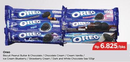 Promo Harga OREO Biskuit Sandwich Peanut Butter And Chocolate, Chocolate, Vanilla, Ice Cream Blueberry, Strawberry, Dark And White Chocolate 133 gr - TIP TOP