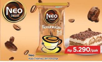 Promo Harga NEO COFFEE 3 in 1 Instant Coffee Tiramisu per 10 sachet 20 gr - TIP TOP
