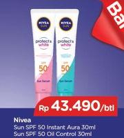 Promo Harga NIVEA Sun Face Serum SPF 50+ Instant Aura, Oil Control 30 ml - TIP TOP