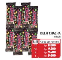 Promo Harga DELFI CHA CHA Chocolate per 10 sachet 13 gr - Lotte Grosir
