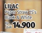 Promo Harga LILAC Sedotan Kertas Black White 25 pcs - Lotte Grosir