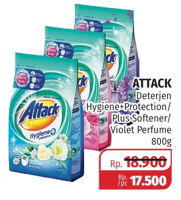 Promo Harga ATTACK Detergent Powder Hygiene Plus Protection, Softener, Violet Perfume 800 gr - Lotte Grosir