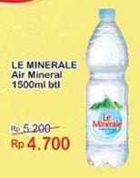 Promo Harga LE MINERALE Air Mineral 1500 ml - Indomaret