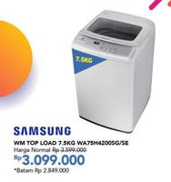 Promo Harga SAMSUNG WA75H4200SG/SE | Washing Machine Top Loading 7.5kg  - Carrefour